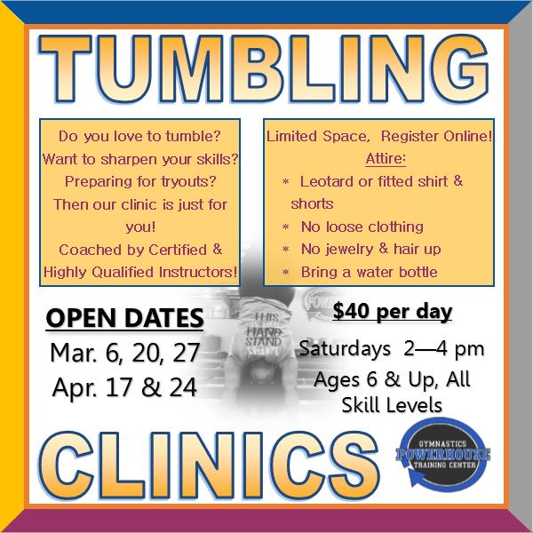 Tumbling Clinic 2021 ad website